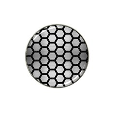 Hexagon2 Black Marble & Silver Brushed Metal Hat Clip Ball Marker by trendistuff