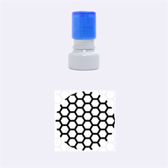 Hexagon2 Black Marble & Silver Brushed Metal Rubber Stamp Round (small)