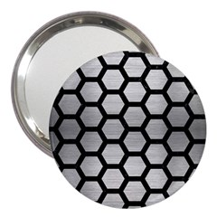 Hexagon2 Black Marble & Silver Brushed Metal 3  Handbag Mirror by trendistuff