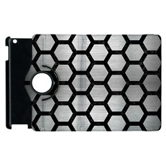 Hexagon2 Black Marble & Silver Brushed Metal Apple Ipad 3/4 Flip 360 Case