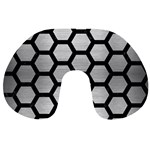 HEXAGON2 BLACK MARBLE & SILVER BRUSHED METAL Travel Neck Pillow Front