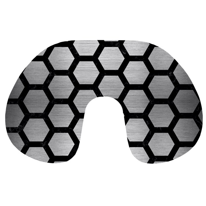HEXAGON2 BLACK MARBLE & SILVER BRUSHED METAL Travel Neck Pillow