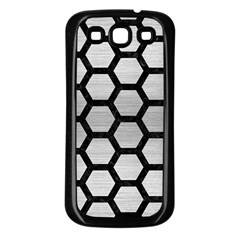 Hexagon2 Black Marble & Silver Brushed Metal Samsung Galaxy S3 Back Case (black) by trendistuff