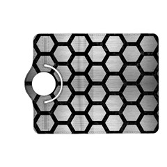 Hexagon2 Black Marble & Silver Brushed Metal Kindle Fire Hd (2013) Flip 360 Case by trendistuff