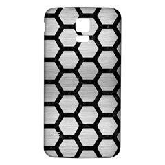 Hexagon2 Black Marble & Silver Brushed Metal Samsung Galaxy S5 Back Case (white) by trendistuff