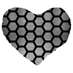 Hexagon2 Black Marble & Silver Brushed Metal Large 19  Premium Flano Heart Shape Cushion by trendistuff