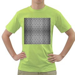 Hexagon1 Black Marble & Silver Brushed Metal (r) Green T Shirt by trendistuff