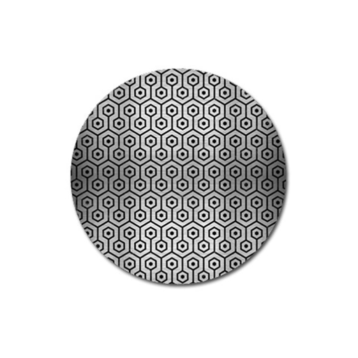 HEXAGON1 BLACK MARBLE & SILVER BRUSHED METAL (R) Magnet 3  (Round)