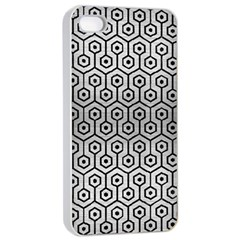 Hexagon1 Black Marble & Silver Brushed Metal (r) Apple Iphone 4/4s Seamless Case (white) by trendistuff
