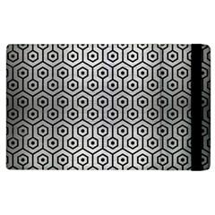 Hexagon1 Black Marble & Silver Brushed Metal (r) Apple Ipad 2 Flip Case by trendistuff