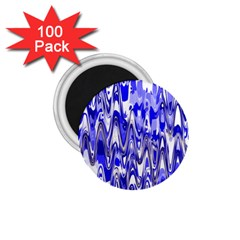 Funky Chevron Blue 1.75  Magnets (100 pack)  by MoreColorsinLife