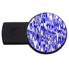 Funky Chevron Blue Usb Flash Drive Round (2 Gb)  by MoreColorsinLife