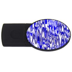 Funky Chevron Blue USB Flash Drive Oval (1 GB)  by MoreColorsinLife
