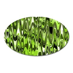 Funky Chevron Green Oval Magnet by MoreColorsinLife