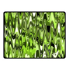 Funky Chevron Green Double Sided Fleece Blanket (small)  by MoreColorsinLife