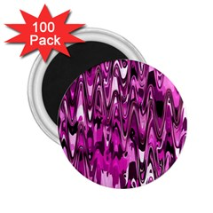 Funky Chevron Hot Pink 2 25  Magnets (100 Pack)  by MoreColorsinLife