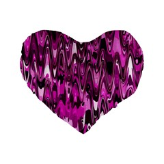Funky Chevron Hot Pink Standard 16  Premium Flano Heart Shape Cushions by MoreColorsinLife