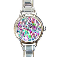 Funky Chevron Multicolor Round Italian Charm Watches by MoreColorsinLife