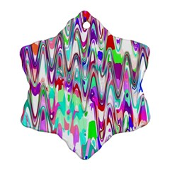 Funky Chevron Multicolor Snowflake Ornament (2 Side) by MoreColorsinLife