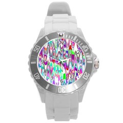 Funky Chevron Multicolor Round Plastic Sport Watch (l) by MoreColorsinLife
