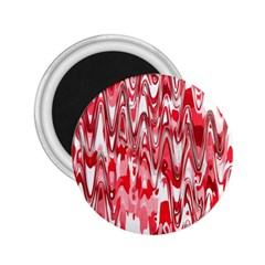 Funky Chevron Red 2 25  Magnets by MoreColorsinLife
