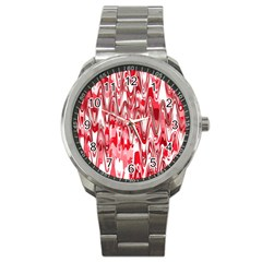Funky Chevron Red Sport Metal Watches by MoreColorsinLife