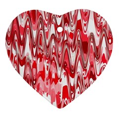 Funky Chevron Red Heart Ornament (2 Sides) by MoreColorsinLife