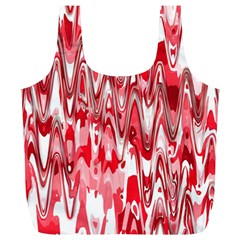 Funky Chevron Red Full Print Recycle Bags (l)  by MoreColorsinLife