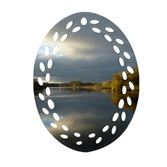 View   On The Lake Oval Filigree Ornament (2-Side)  by Costasonlineshop
