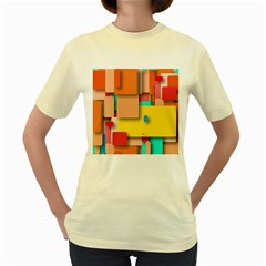 Rounded Rectangles Women s Yellow T Shirt by hennigdesign