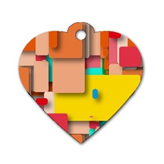 Rounded Rectangles Dog Tag Heart (Two Sides) by hennigdesign