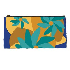 Urban Garden Abstract Flowers Blue Teal Carrot Orange Brown Pencil Cases by CircusValleyMall