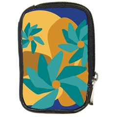 Urban Garden Abstract Flowers Blue Teal Carrot Orange Brown Compact Camera Cases by CircusValleyMall