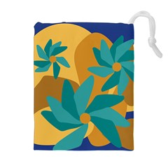 Urban Garden Abstract Flowers Blue Teal Carrot Orange Brown Drawstring Pouches (extra Large) by CircusValleyMall