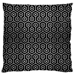 Hexagon1 Black Marble & Silver Brushed Metal Large Cushion Case (one Side) by trendistuff