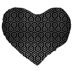 Hexagon1 Black Marble & Silver Brushed Metal Large 19  Premium Flano Heart Shape Cushion by trendistuff