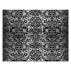 Damask2 Black Marble & Silver Brushed Metal (r) Jigsaw Puzzle (rectangular) by trendistuff