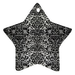 Damask2 Black Marble & Silver Brushed Metal (r) Star Ornament (two Sides) by trendistuff