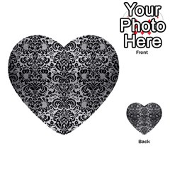 Damask2 Black Marble & Silver Brushed Metal (r) Multi Purpose Cards (heart) by trendistuff