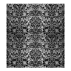 Damask2 Black Marble & Silver Brushed Metal (r) Shower Curtain 66  X 72  (large) by trendistuff