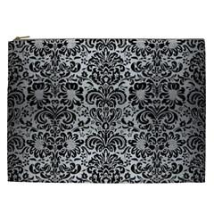 Damask2 Black Marble & Silver Brushed Metal (r) Cosmetic Bag (xxl) by trendistuff