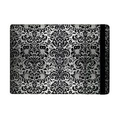 Damask2 Black Marble & Silver Brushed Metal (r) Apple Ipad Mini Flip Case by trendistuff