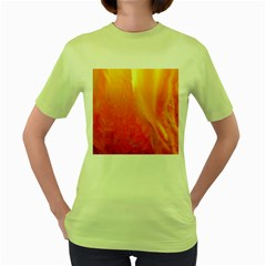 Floating Orange And Yellow Women s Green T Shirt by timelessartoncanvas