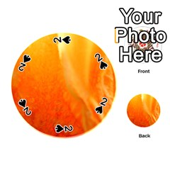 Floating Orange And Yellow Playing Cards 54 (round)  by timelessartoncanvas