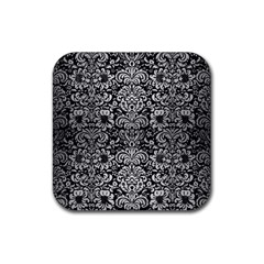 Damask2 Black Marble & Silver Brushed Metal Rubber Square Coaster (4 Pack) by trendistuff
