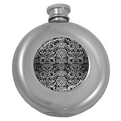 Damask2 Black Marble & Silver Brushed Metal Hip Flask (5 Oz) by trendistuff