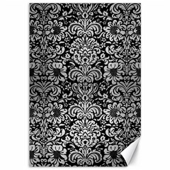 Damask2 Black Marble & Silver Brushed Metal Canvas 12  X 18  by trendistuff