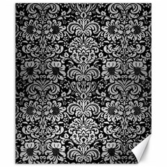 Damask2 Black Marble & Silver Brushed Metal Canvas 20  X 24  by trendistuff