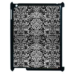 Damask2 Black Marble & Silver Brushed Metal Apple Ipad 2 Case (black) by trendistuff