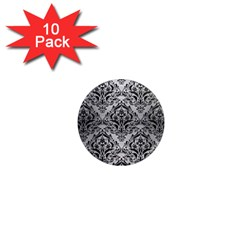 Damask1 Black Marble & Silver Brushed Metal (r) 1  Mini Magnet (10 Pack)  by trendistuff